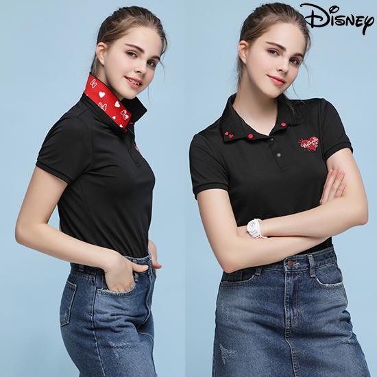 디즈니 [디즈니] 여성 라운딩 카라 티셔츠 블랙
