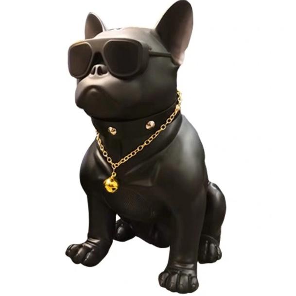 불독 블루투스 스피커 인테리어 선글라스불독 강아지블투, 블랙, 34cm