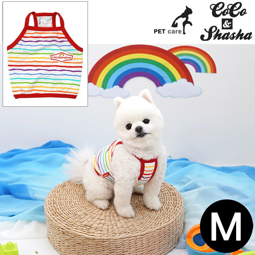 YJ_67001 + 강아지 티셔츠 +TWON#+ 레인보우 크롭 티셔츠 (레드) (M)