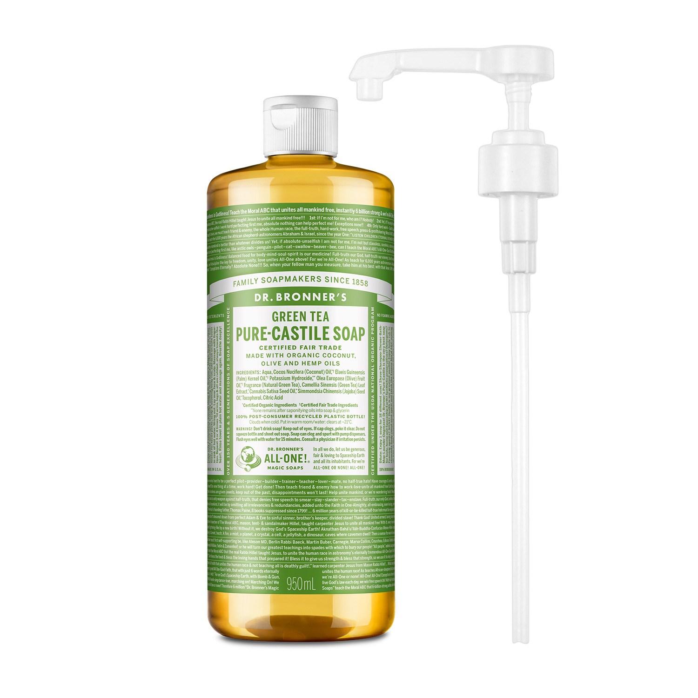 닥터브로너스 퓨어 캐스틸 솝 그린티 950ml + 전용펌프, 단품
