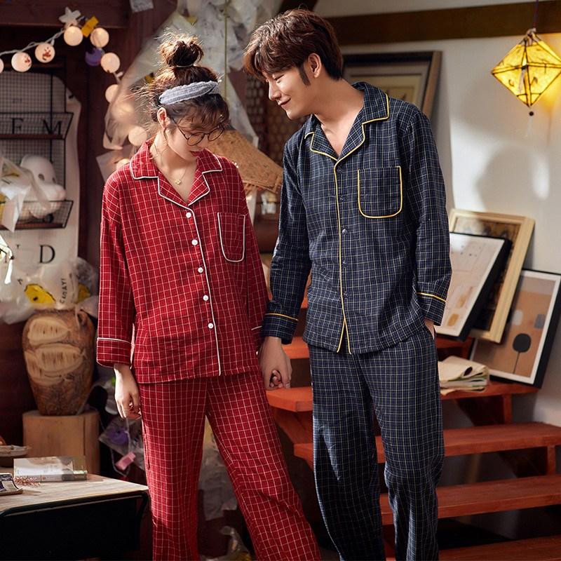 러빙리 쿠리스마스체크 순면 커플파자마 홈웨어 잠옷세트