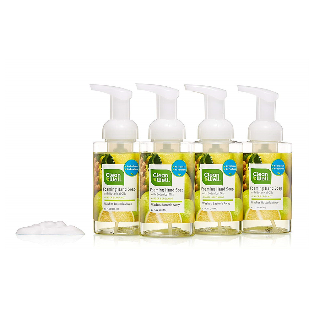Cleanwell Foaming Hand Soap Spearmint Lime Paraben Free Alcohol Free 휴대용 손세정제 9.5 oz 4 PK