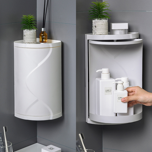 장바9니 방수 회전문 욕실 선반 정리함 코너선반 다용도수납, 그레이