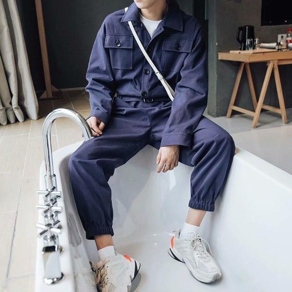가을 겨울 남자 남성 점프 수트 슈트 빈티지 작업복 정비복 멜빵 바지 일본 스트릿 스즈끼 대형 빅사이즈 대형