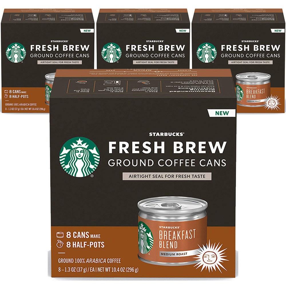 스타벅스 Starbucks Fresh Brew Ground Coffee Cans Breakfast 프레시 브루 블랙퍼스트 블렌드 37g 32캔, 1g, 1