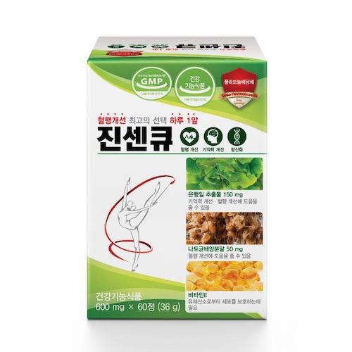 진센큐 은행잎 징코 나토키나제 혈액순환 혈행 기억력 개선 영양제 건강기능식품, 600mg, 60정