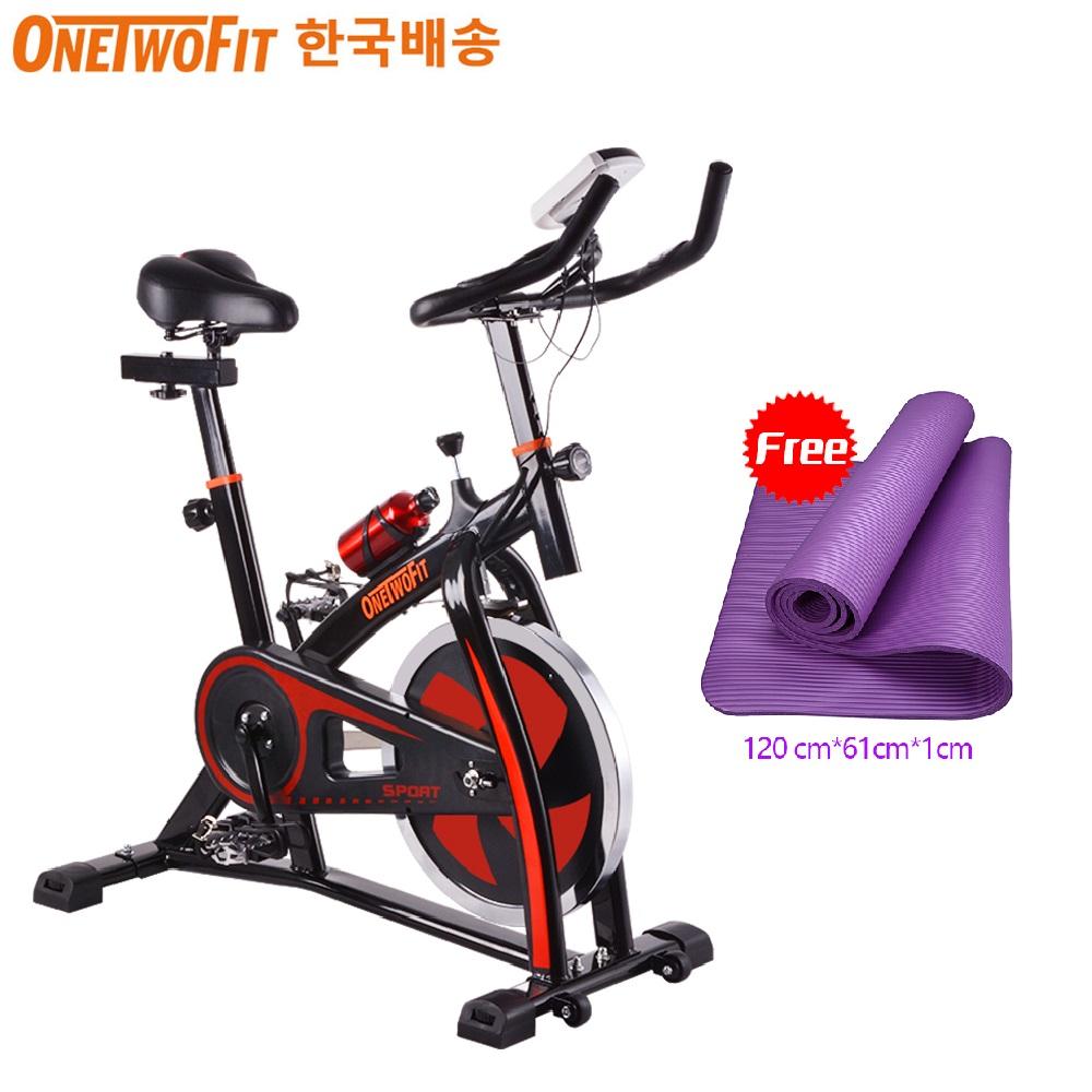 OneTwoFit 스핀바이크 클럽형 스피닝자전거 무소음 실내자전거+전용매트, 혼합색상, 10kg 휠