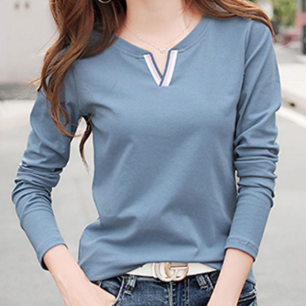 Joyce shop 오래달리기 FW 비비 여성 긴팔 티셔츠 티 의류 가을 카라 라운드 면티 빅사이즈 기본 셔츠 무지 7부 남방 블라우스