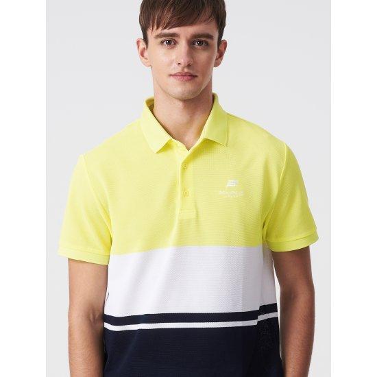 빈폴스포츠 옐로우 남성 COOLHAN 한지 컬러 블럭 반팔 티셔츠 (BO9442D13E)