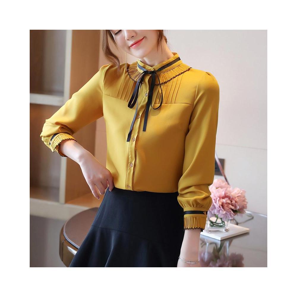 알지구 썸머 블라우스 실제 촬영 외국 스타일 가을 새로운 여성 스탠드 칼라 단색 쉬폰 셔츠 카디건 바닥