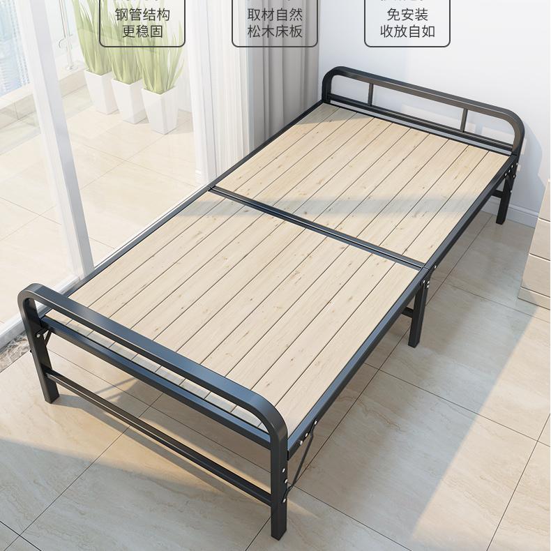 접이식침대 싱글 더블 접이식 심플 철제선반 낮잠침대, T01-수입 소나무 침대판 :80cm(10년)