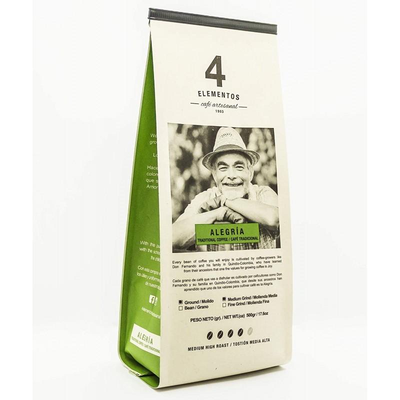 4 Elegos Alegria Artisanal 그라운드 커피 – 16온스 콜롬비아 전통 미디엄 로스트 커피 에스프레소와 프렌치 프레스용 – 썬, 1, 단일옵션