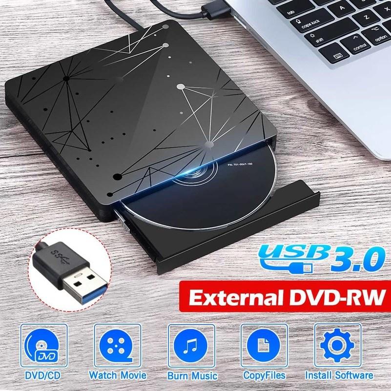 외부 DVD 드라이브 USB 3.0 휴대용 CD DVD RW 드라이브 라이터 버너 광학 플레이어 Windows 10 노트북 데스크탑 iMac과 호환 가능, 중국