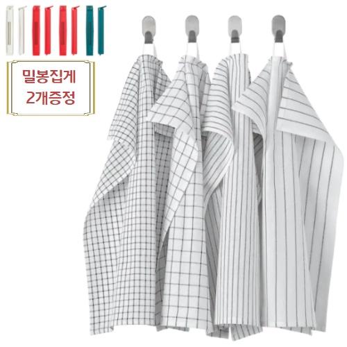 이케아 쉐프 행주 티타월 4P 세트 45x60cm 밀봉클립 2p포함, 1set