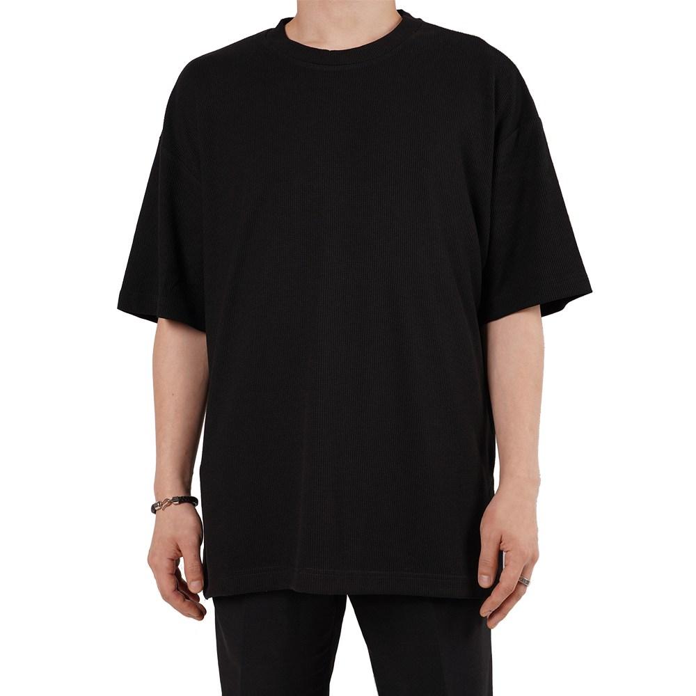 지스캇 남녀공용 와플 오버핏 반팔티 빅사이즈 반팔 티셔츠