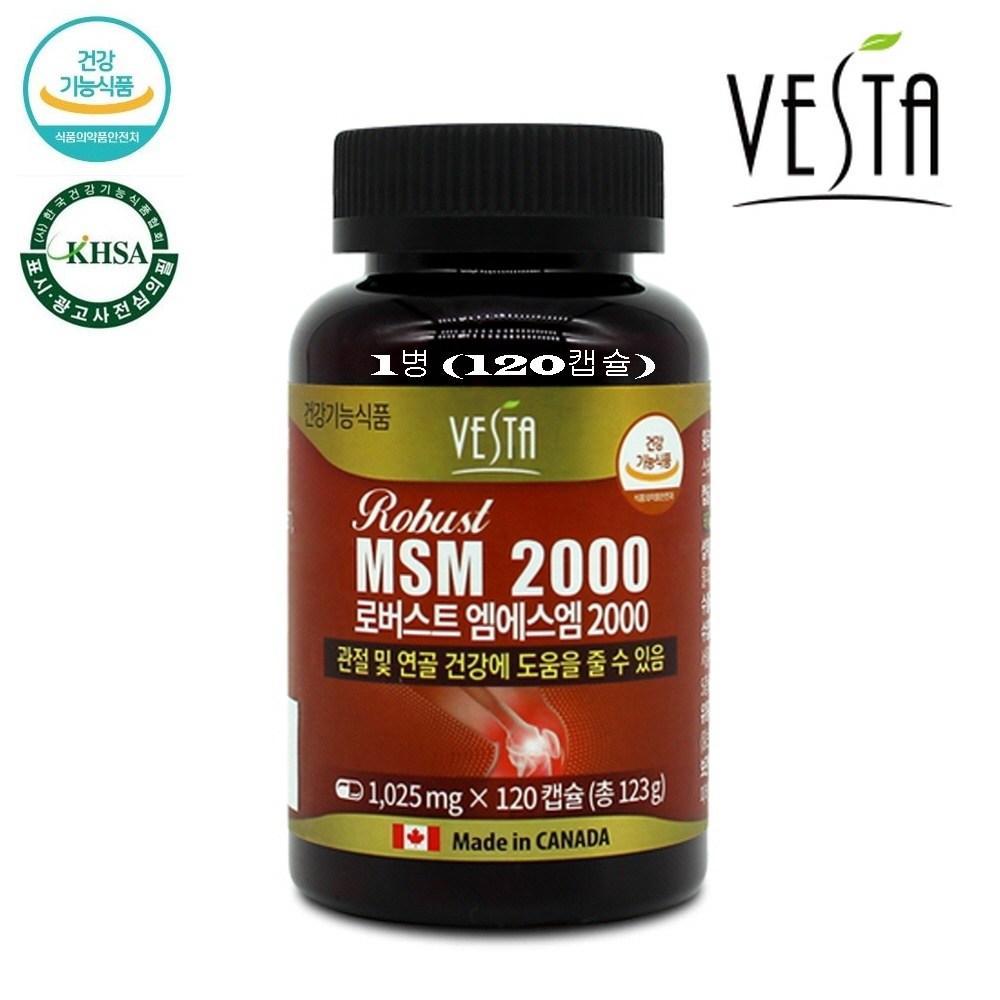 베스타 로버스트 MSM 디메틸설폰 스테아린산마그네슘 관절 연골건강 1025mg, 120캡슐
