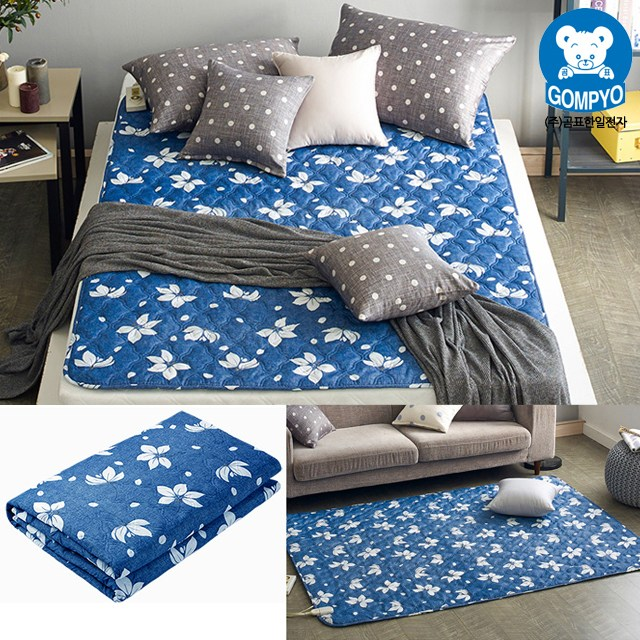 전자파 안심 전기요 침대용 거실용 캠핑용 전기장판 1인용 2인용, 소형(67.5cm × 180cm), 플로라 블루