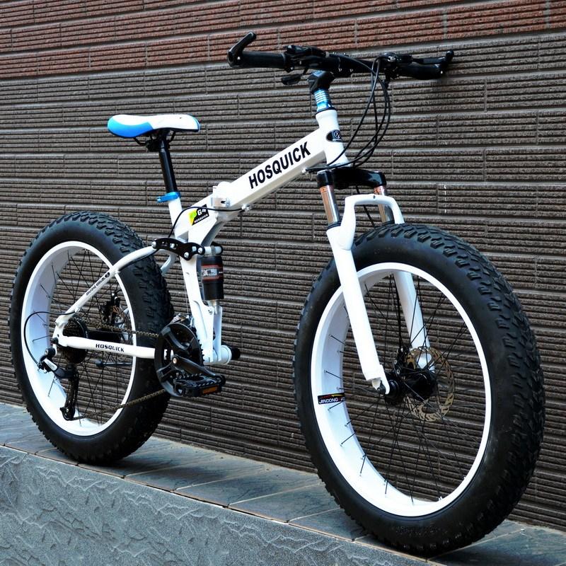 접이식 산악 자전거 여성 취미용 24인치, 하얀 + 7 단 + 26 인치