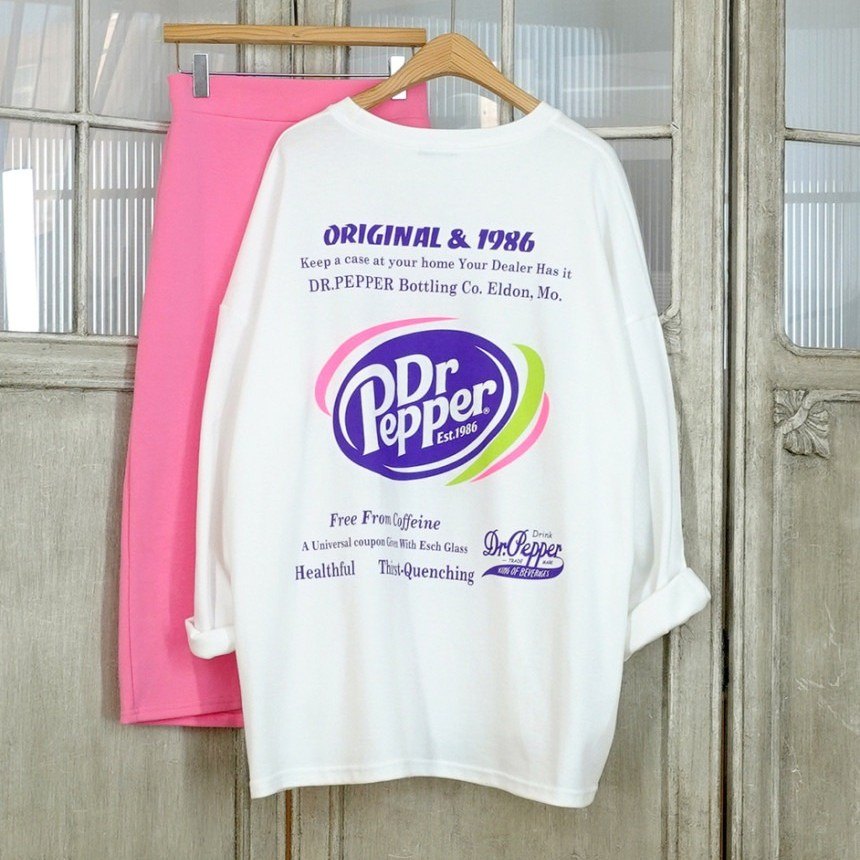 이힝 닥터 백 프린팅 루즈핏 롱티셔츠 긴팔 티셔츠