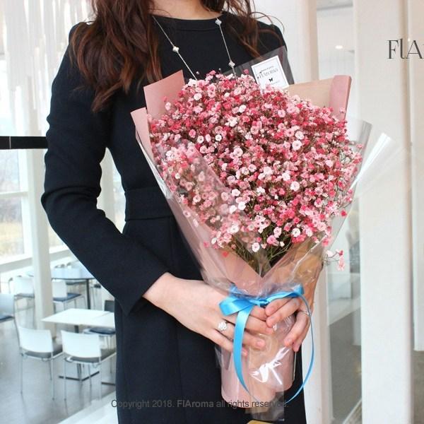 플라로마 안개꽃다발 생화 기념일선물 생신선물 전국배송, 핑크