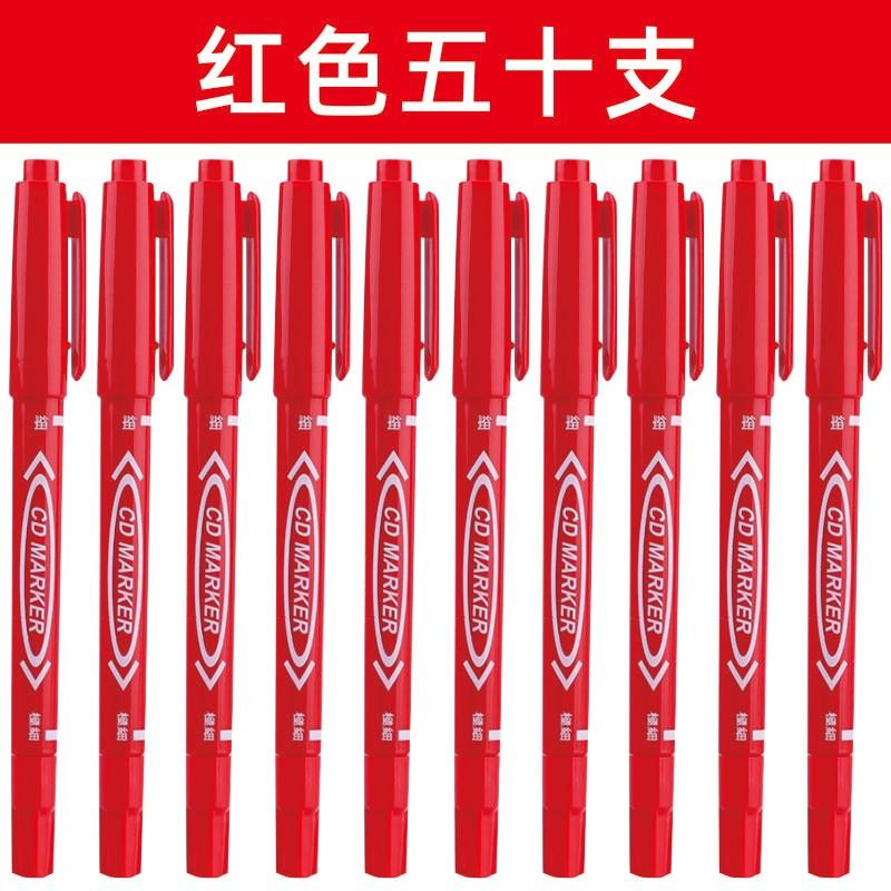 매직 100개 작은더블헤드 호필 유성 방수 불가능 미술 테두리붓 마크 마커펜 블랙, T06-레드(50개)
