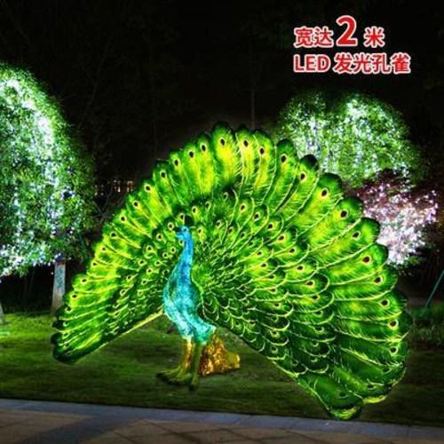 레진 수지 공예 정원 가든 마당 야외 장식 조경 인테리어 조각상 조형물 LED가 켜진 공작새 유리강조 진짜 동물조각 가든파크의 야경장식이 크다, 18 공작조합