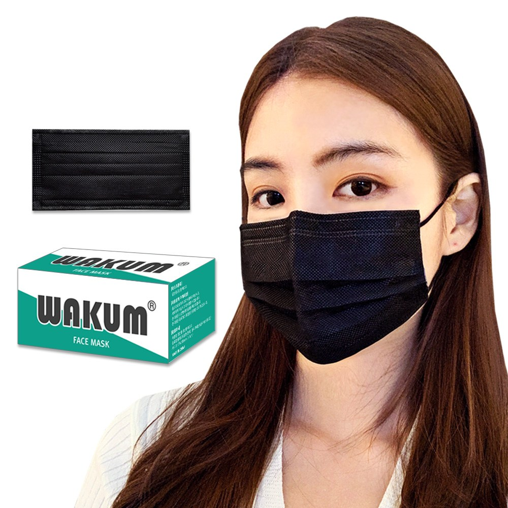 WAKUM 일회용 마스크 50매(블랙) 고급형 멜트블로우필터 당일출고, 50매