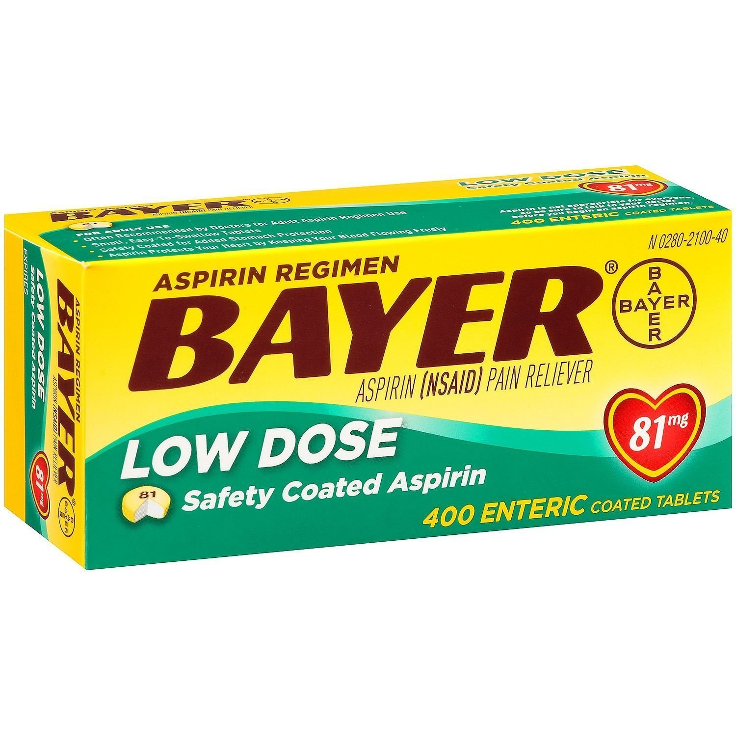 Bayer/Aspirin/Low Dose/Pain Reliever/81mg 400caps, 81mg  400caps