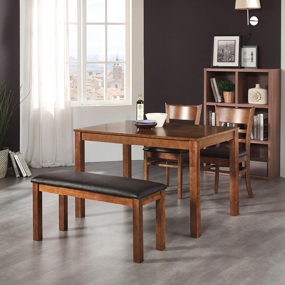 동서가구 식탁, 케빈4인식탁세트(벤치+의자2개)-웬지(902672)