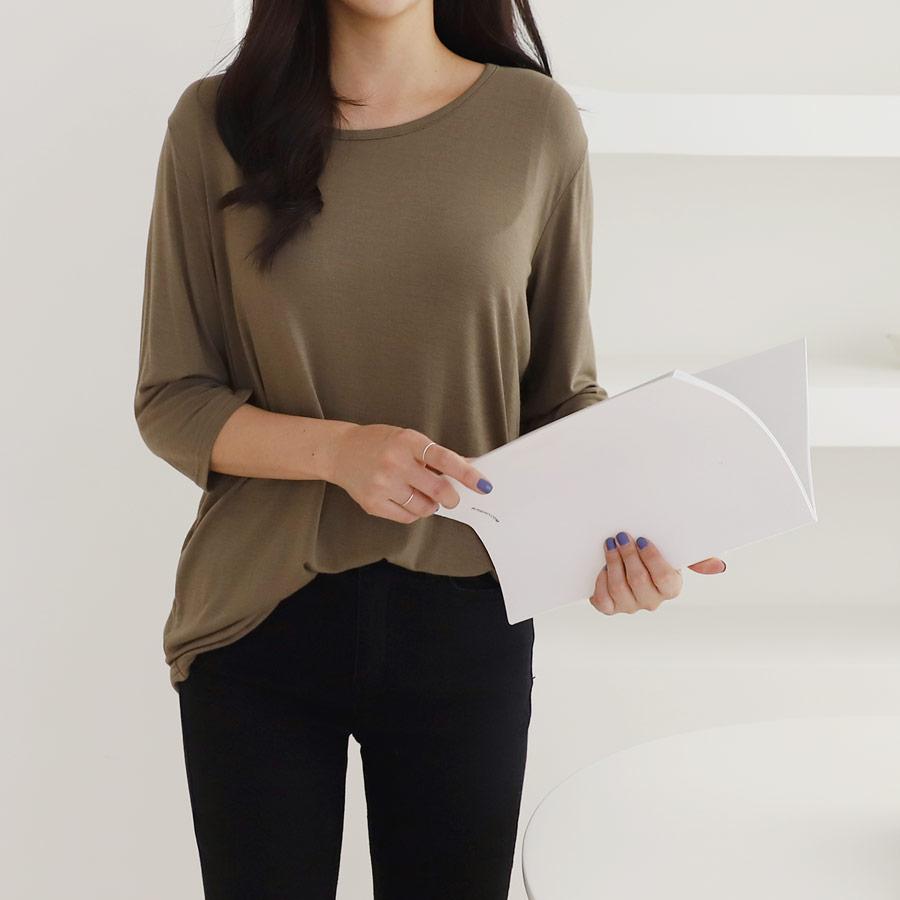 아이엠수 여성용 실켓 7부 라운드 티셔츠