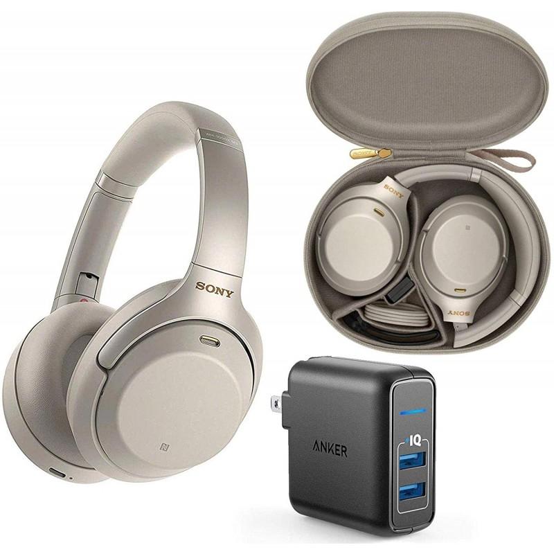 Anker 2 포트 USB 벽 충전기가 달린 귀 헤드폰 번들로 소니 WH1000XM3 무선 블루투스 노이즈 캔슬링-실버, 단일옵션, 단일옵션