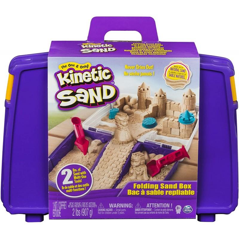 레고 슈퍼 마리오 키네틱 샌드 2 파운드의 키네틱 샌드 및 몰드 및 도구가 포함 된 접이식 샌드 박스, 단일옵션