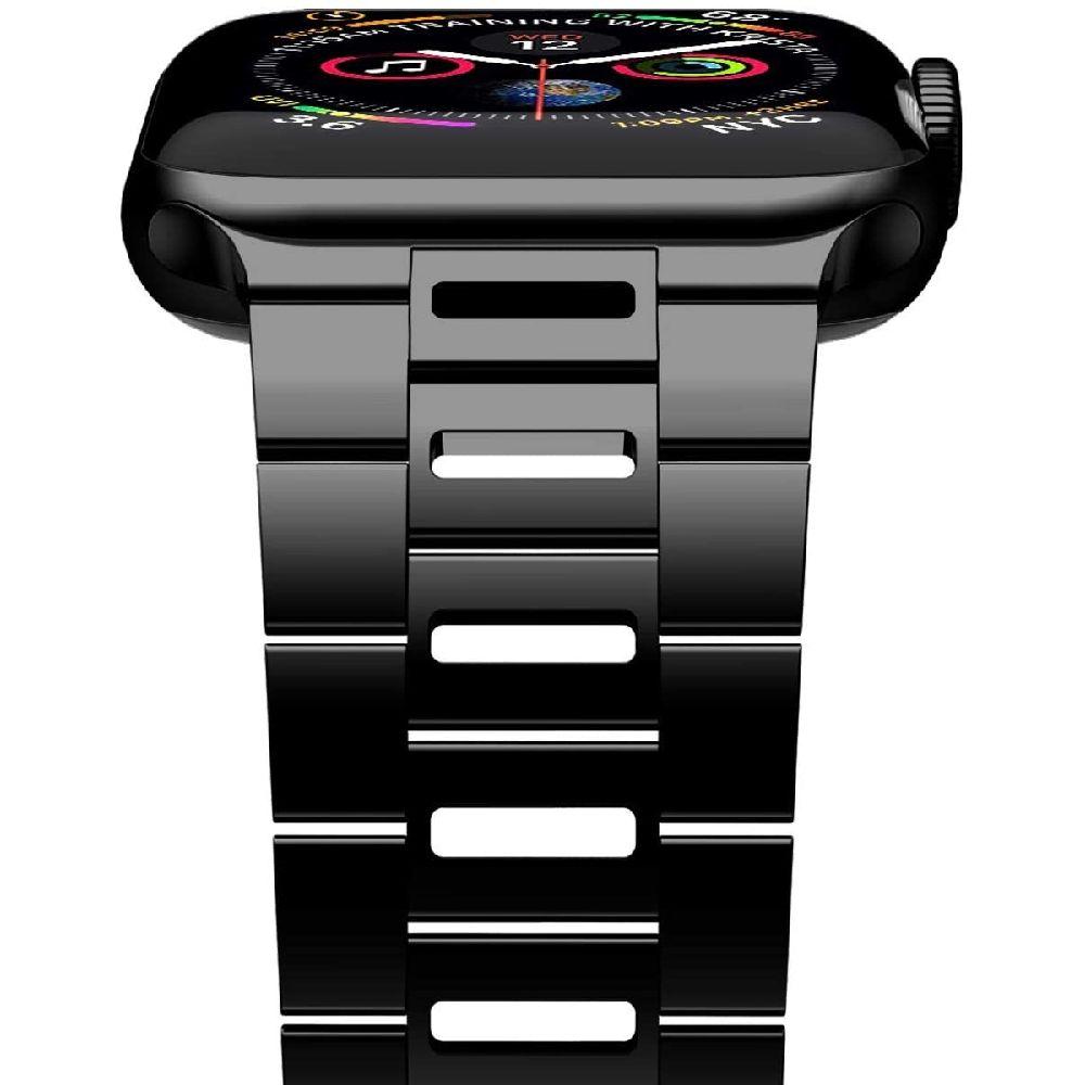 iiteeology [새 버전] 애플 시계 시리즈 5 4 3 2 1 남녀 검은 색과 iWatch 밴드 44mm 42mm 울트라 얇은 통