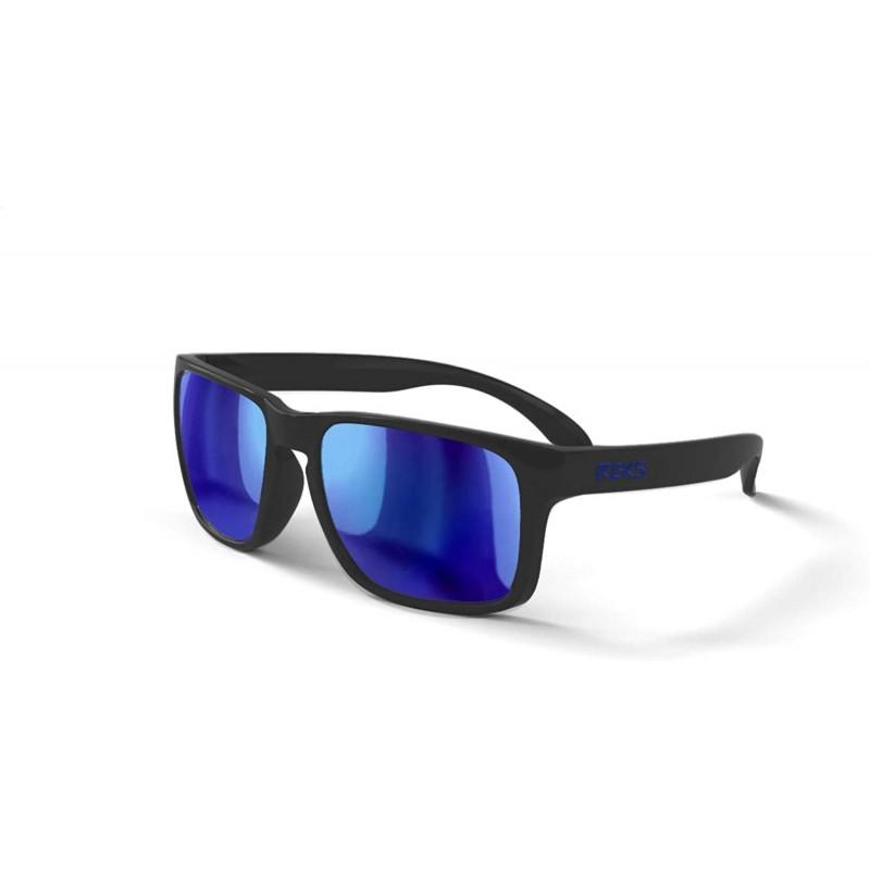 RUDY 남자선글라스 블루 미러 편광 렌즈가 장착 된 새틴 터치 블랙 스포츠, 단일옵션