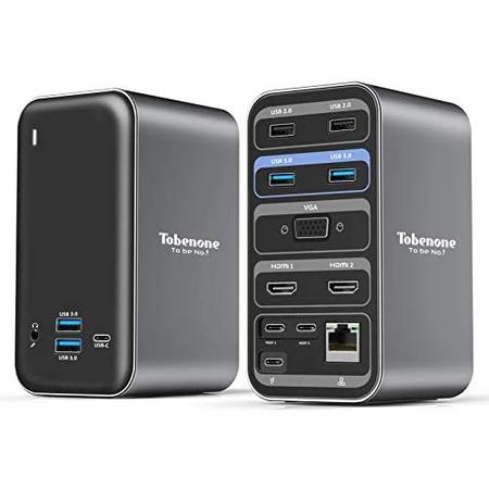 맥북 에어 M1 USB 허브 C타입 아답터 F34 도킹스테이션 Tobenone USB C Docking Station Dual Monitor for, Grey_One Size, 상세 설명 참조0, 상세 설명 참조0