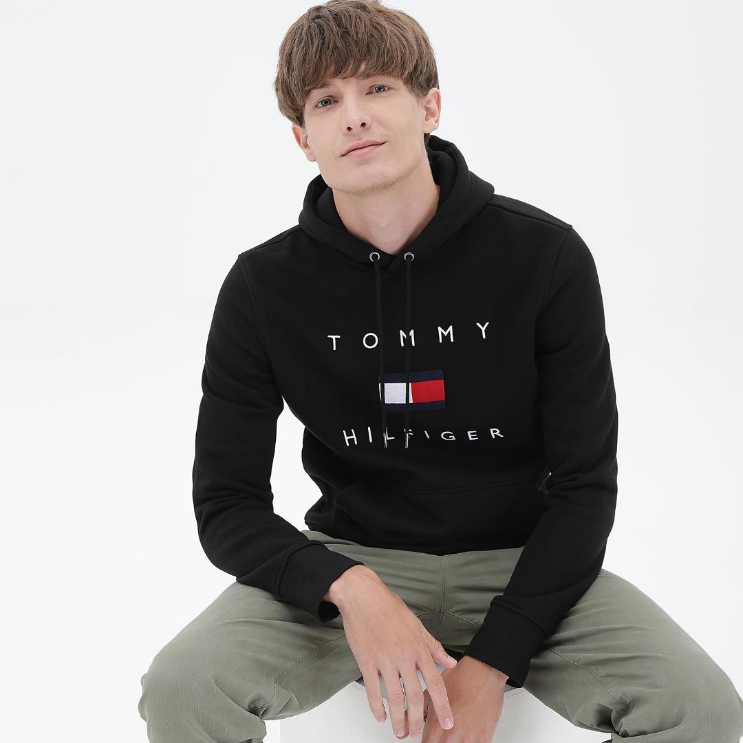 타미힐피거 면 혼방 레귤러핏 플래그 후드 티셔츠 T12A7TPO130MT1 BDS