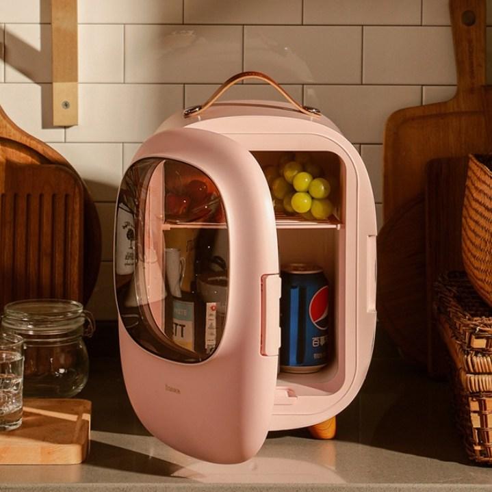 베이스어스 8L 예쁜 디자인 화장품 냉장고 온장고 미니 소형 개인 소장용, CRBX01(핑크)