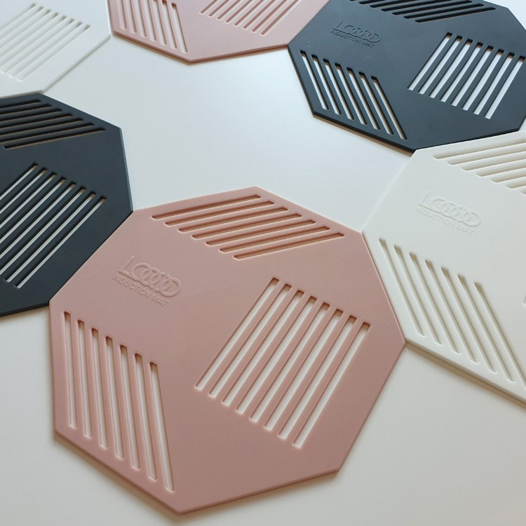 [투썬빌리지] [3P] 디자인갬성 인덕션보호 컬러매트 - 인덕션매트 냄비받침 실리콘매트 인덕션보호매트 선물추천, 핑크3P