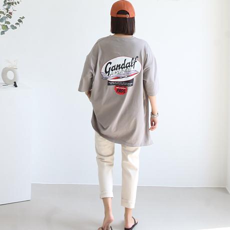 애플망고샵 에어플라이 롱박시 루즈핏 롱티 오버핏 레터링 프린팅 여성 빅사이즈 반소매 반팔 티셔츠
