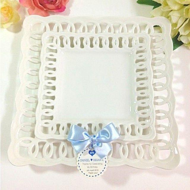 그릇 예쁜접시 화이트접시 원형접시 도자기그릇 브런치접시 Lovely 도자기접시 파티용 사각접시 소 20cm