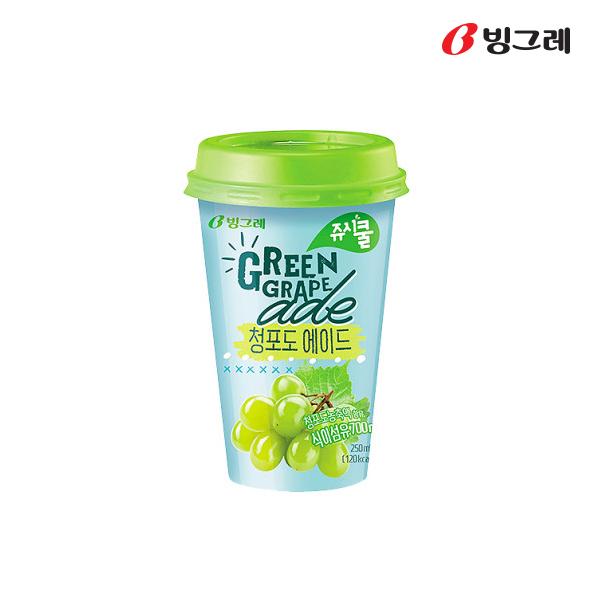 빙그레 쥬시쿨에이드 청포도에이드 250mlx20컵 무료배송, 20개, 250ml