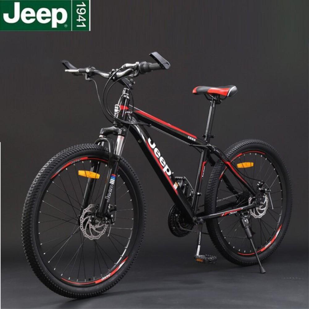 지프 산악자전거 26인치 27.5인치 남녀 가변 속도 오프로드 충격 흡수 MTB 자전거 학생 경주, 26 인치cm, 24 단 + 랭글러 블랙 및 레드 스포크 휠 【핑거 다이얼】