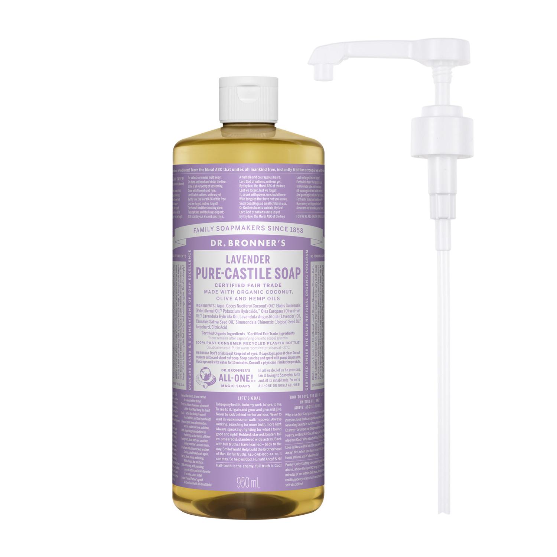 닥터브로너스 퓨어 캐스틸 솝 라벤더 950ml + 전용펌프, 단품