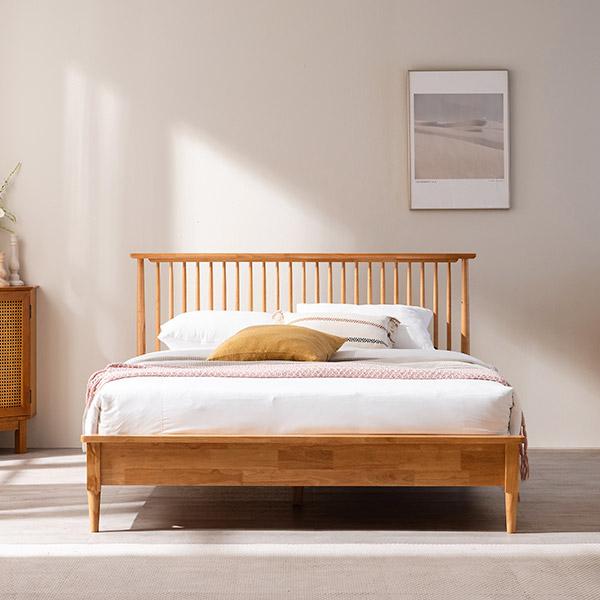 [삼익가구]위럭스 원목 침대(양모 라텍스 7존 독립스프링 매트리스-퀸), 내추럴