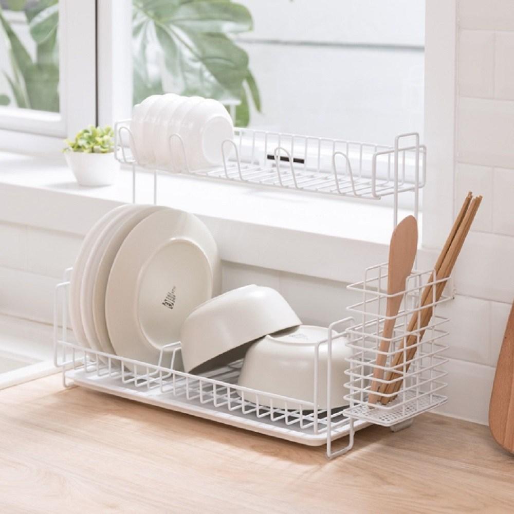 베스타 2단 식기건조대 그릇 설거지 건조대 좁은공간ok, 화이트