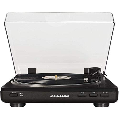 Crosley T400 Fully Automatic 2-Speed Component Turntable with Built-in Preamp White, 옵션 1 Color = Black