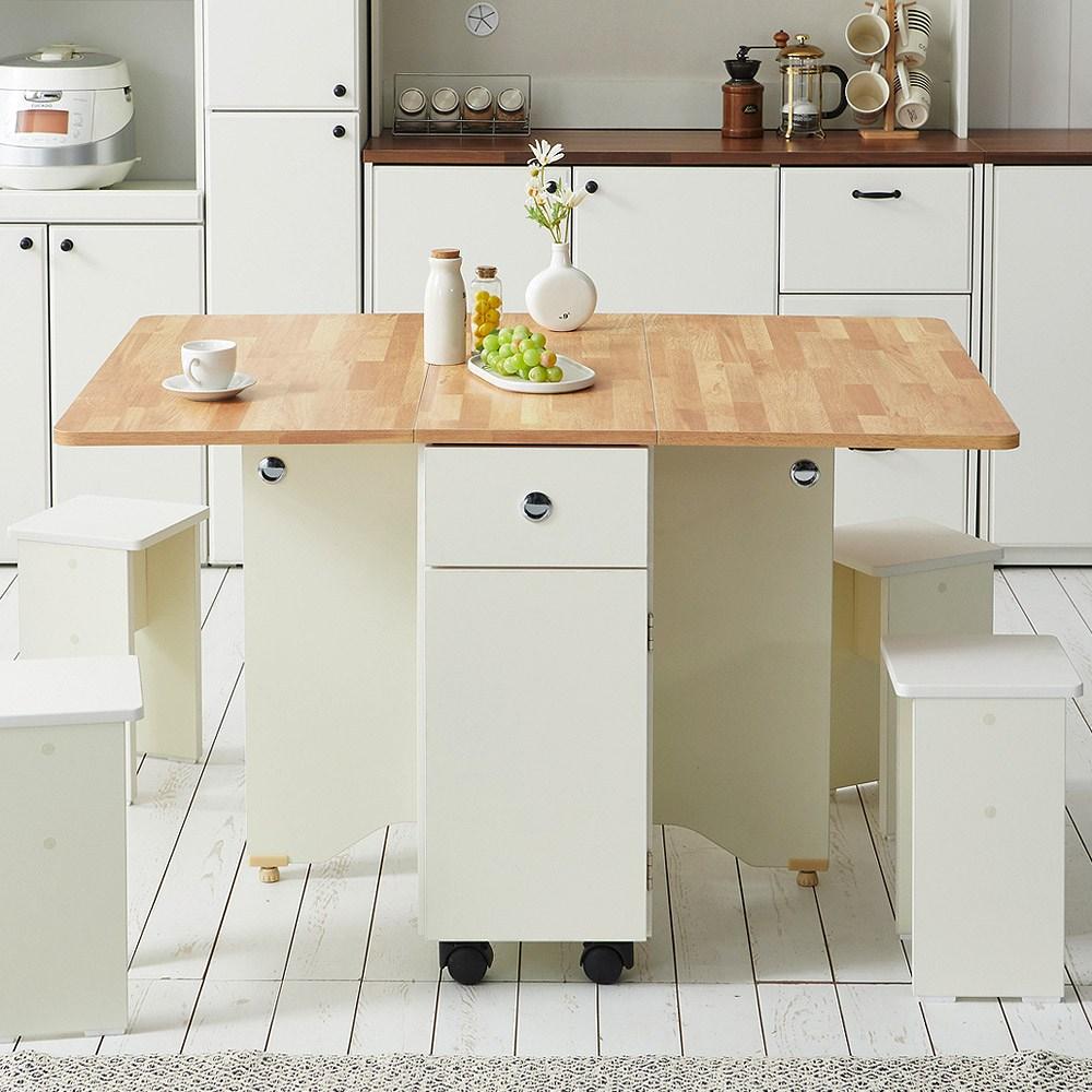 스칸디무드 쿠스토 이동식 확장형 접이식 식탁 테이블, 오크화이트