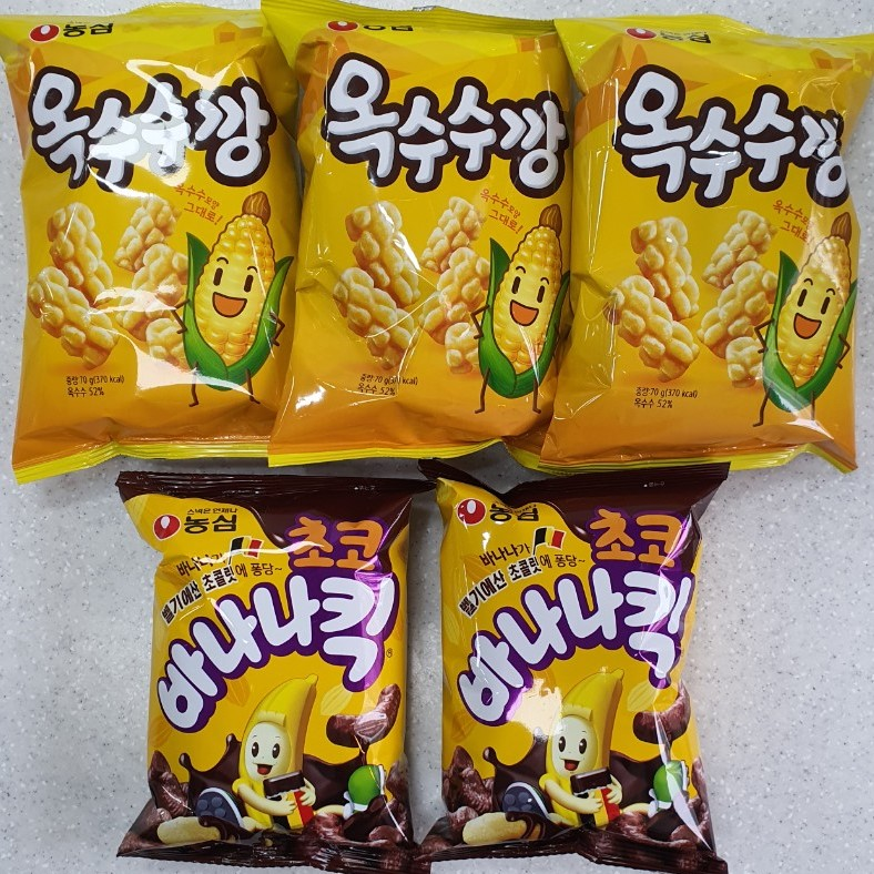 담팔담사 농심 옥수수깡 70g 3봉+농심 초코바나나킥 60g 2봉(총5봉)