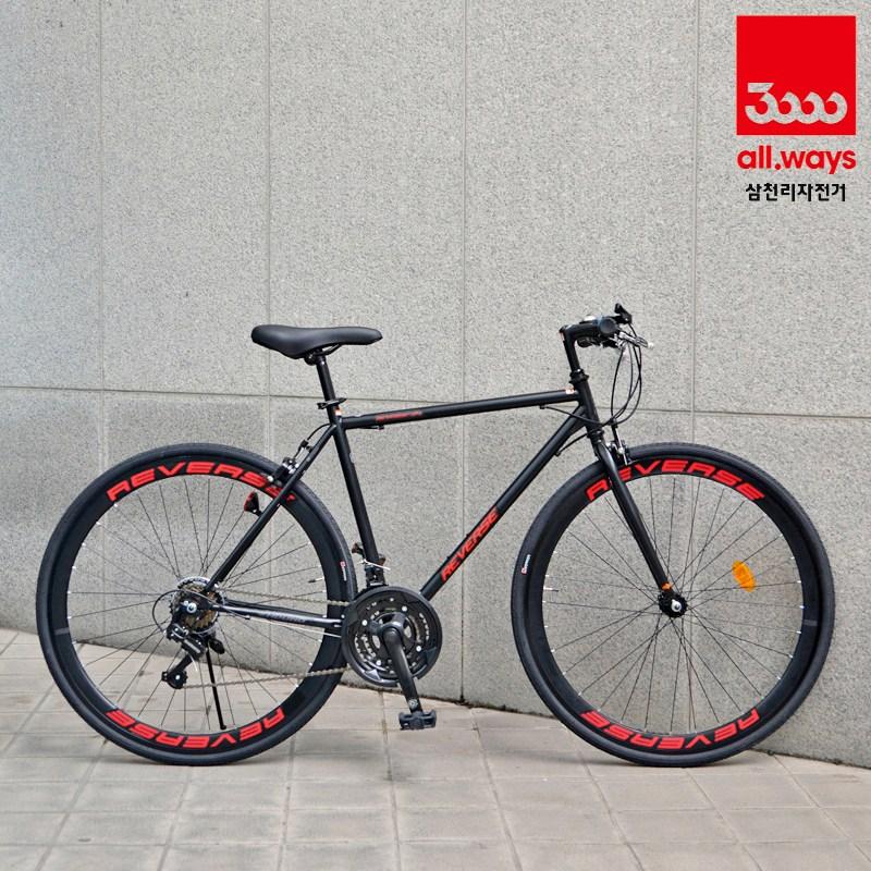 삼천리자전거 무료완전조립 시마노 21단 도시형 하이브리드 자전거 리버스H, 블랙-레드