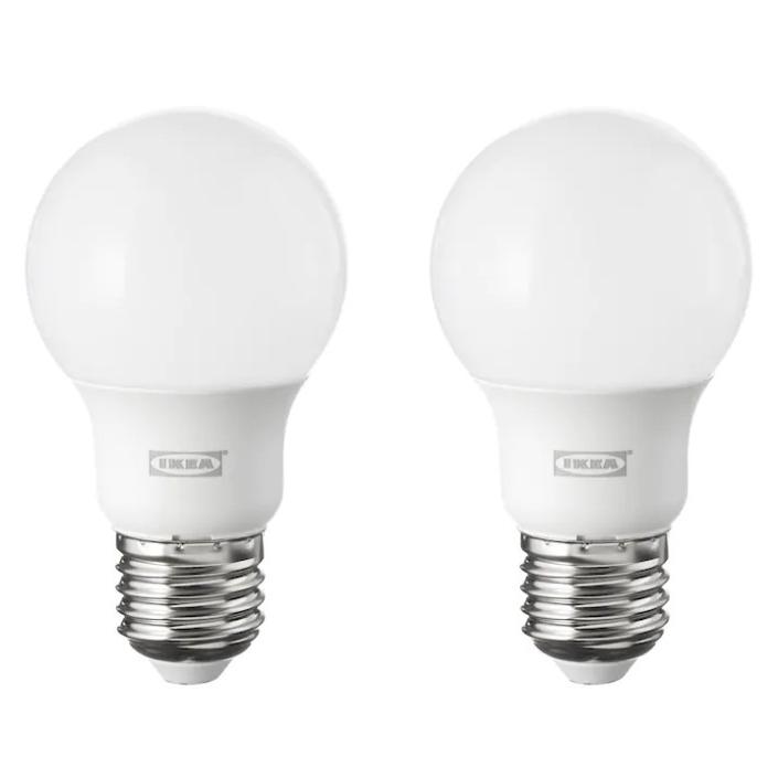 이케아 뤼에트 LED전구 E26 600루멘 구형 오팔 화이트 2개, 단품